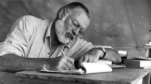 Black and white photo of Ernest Hemingway