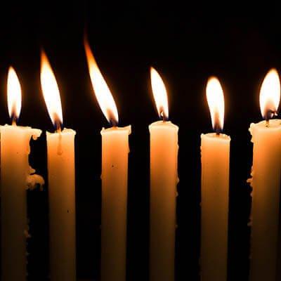 Lit Menorah candles